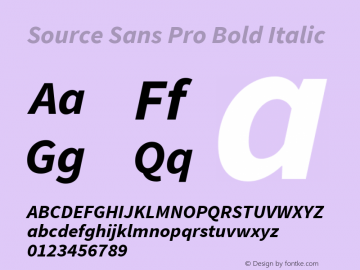 Source Sans Pro Bold Italic Version 1.050;PS Version 1.000;hotconv 1.0.70;makeotf.lib2.5.5900 Font Sample