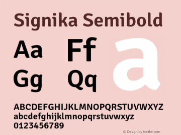 Signika Semibold Version 1.001 Font Sample