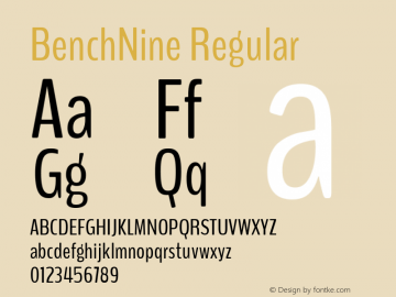 BenchNine Regular Version 1 ; ttfautohint (v0.92.18-e454-dirty) -l 8 -r 50 -G 200 -x 0 -w