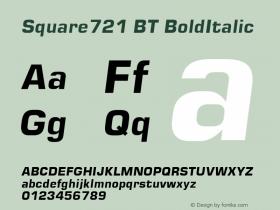 Square721 BT BoldItalic Macromedia Fontographer 4.1.3 1/5/99 Font Sample