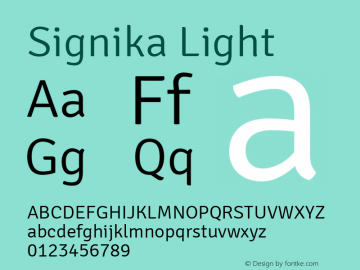 Signika Light Version 1.001 Font Sample