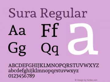 Sura Regular Version 1.003;PS 001.002;hotconv 1.0.70;makeotf.lib2.5.58329 DEVELOPMENT; ttfautohint (v1.00) -l 8 -r 50 -G 200 -x 14 -D latn -f none -w G图片样张