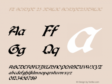 FZ SCRIPT 25 ITALIC SCRIPT25ITALIC Version 1.000 Font Sample
