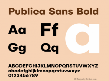 Publica Sans Bold Version 1.000;PS 001.000;hotconv 1.0.88;makeotf.lib2.5.64775;com.myfonts.easy.facetype.publica-sans.bold.wfkit2.version.4A58图片样张