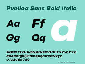 Publica Sans Bold Italic Version 1.000;PS 001.000;hotconv 1.0.88;makeotf.lib2.5.64775;com.myfonts.easy.facetype.publica-sans.bold-italic.wfkit2.version.4A5a Font Sample