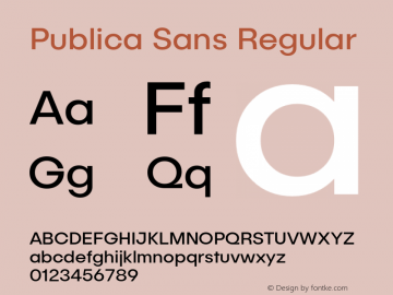 Publica Sans Regular Version 1.000;PS 001.000;hotconv 1.0.88;makeotf.lib2.5.64775;com.myfonts.easy.facetype.publica-sans.regular.wfkit2.version.4A5i Font Sample