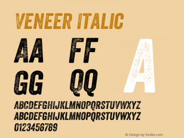 Veneer Italic Version 1.000 Font Sample