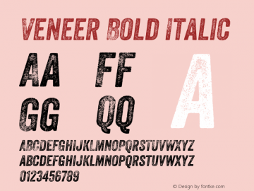 Veneer Bold Italic Version 1.000 Font Sample