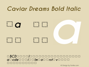 Caviar Dreams Bold Italic Version 5.00 June 15, 2014 Font Sample