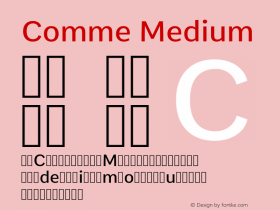 Comme Medium Version 2; ttfautohint (v1.00rc1.2-2d82) -l 6 -r 72 -G 200 -x 0 -D latn -f none -w G图片样张