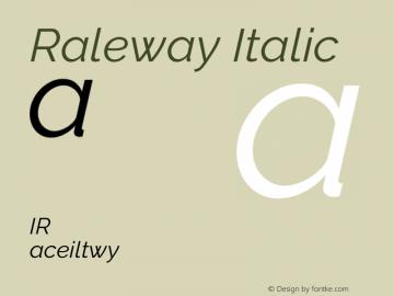 Raleway Italic Version 3.000g; ttfautohint (v1.5) -l 8 -r 28 -G 28 -x 14 -D latn -f cyrl -w G -c -X