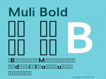 Muli Bold Version 2; ttfautohint (v1.00rc1.6-4cba) -l 8 -r 50 -G 200 -x 0 -D latn -f none -w G Font Sample