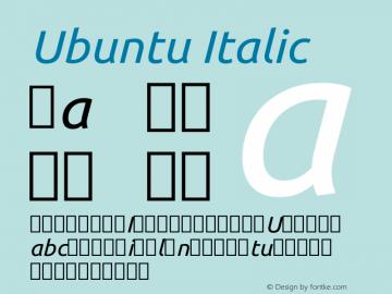 Ubuntu Italic Version 0.80 Font Sample
