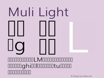 Muli Light Version 2; ttfautohint (v1.00rc1.6-4cba) -l 8 -r 50 -G 200 -x 0 -D latn -f none -w G Font Sample
