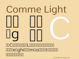 Comme Light Version 2; ttfautohint (v1.00rc1.2-2d82) -l 6 -r 72 -G 200 -x 0 -D latn -f none -w G图片样张
