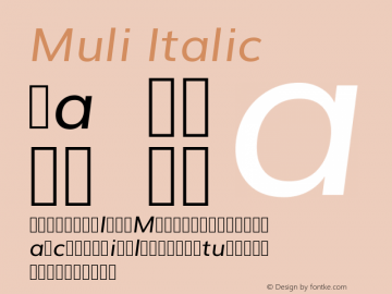 Muli Italic Version 2.0; ttfautohint (v1.00rc1.2-2d82) -l 8 -r 50 -G 200 -x 0 -D latn -f none -w G -W Font Sample