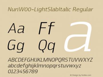 NuriW00-LightSlabItalic Regular Version 2.20图片样张