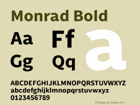 Monrad Bold Version 2.010;PS Version 2.0;hotconv 1.0.78;makeotf.lib2.5.61930图片样张