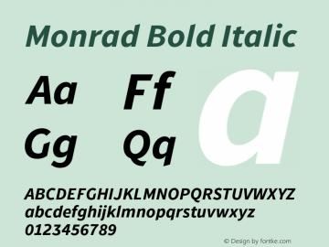 Monrad Bold Italic Version 1.065;PS Version 2.0;hotconv 1.0.78;makeotf.lib2.5.61930图片样张