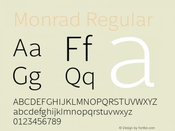 Monrad Regular Version 2.010;PS Version 2.0;hotconv 1.0.78;makeotf.lib2.5.61930图片样张