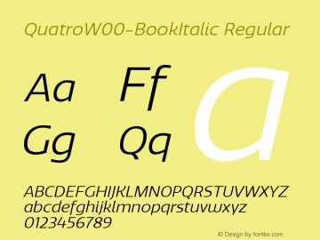 QuatroW00-BookItalic Regular Version 1.30图片样张