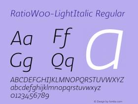 RatioW00-LightItalic Regular Version 1.10图片样张