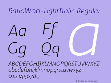 RatioW00-LightItalic Regular Version 1.10图片样张
