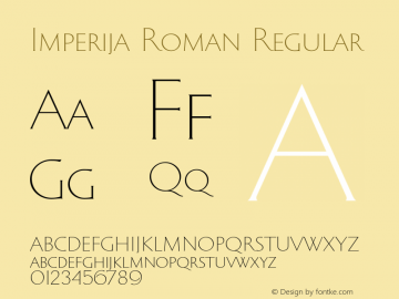 Imperija Roman Regular Version 1.000;PS 001.000;hotconv 1.0.70;makeotf.lib2.5.58329图片样张