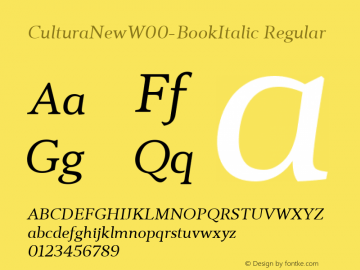 CulturaNewW00-BookItalic Regular Version 1.10图片样张