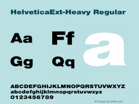 HelveticaExt-Heavy Regular Converted from C:\EMSTT\ST000080.TF1 by ALLTYPE Font Sample