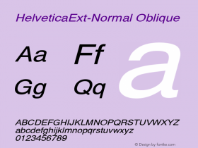 HelveticaExt-Normal Oblique Converted from C:\EMSTT\ST000090.TF1 by ALLTYPE Font Sample