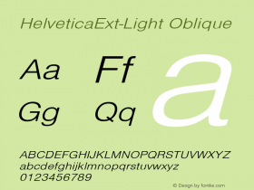 HelveticaExt-Light Oblique Converted from C:\EMSTT\ST000085.TF1 by ALLTYPE图片样张