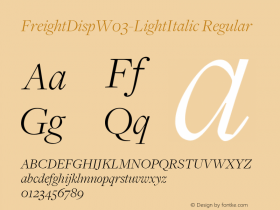 FreightDispW03-LightItalic Regular Version 3.00图片样张