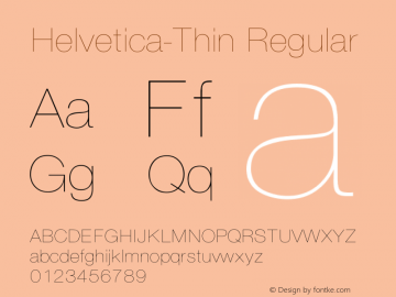 Helvetica-Thin Regular Converted from C:\EMSTT\ST000094.TF1 by ALLTYPE Font Sample