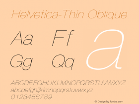 Helvetica-Thin Oblique Converted from C:\EMSTT\ST000094.TF1 by ALLTYPE Font Sample