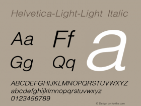 Helvetica-Light-Light Italic Converted from C:\WIN\SYSTEM\ST000096.TF1 by ALLTYPE图片样张