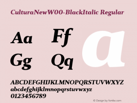 CulturaNewW00-BlackItalic Regular Version 1.10图片样张