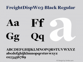 FreightDispW03-Black Regular Version 3.00 Font Sample