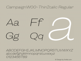 CampaignW00-ThinItalic Regular Version 1.00图片样张