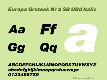 Europa Grotesk Nr 2 SB UBd Italic Version 3.01 2014; ttfautohint (v1.3);com.myfonts.easy.efscangraphic.europa-grotesk-no-2-sb.ult-ita.wfkit2.version.4rqb Font Sample