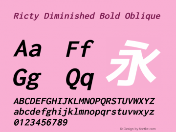 Ricty Diminished Bold Oblique Version 4.0.1图片样张