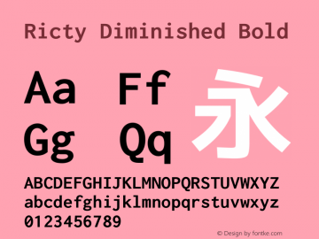 Ricty Diminished Bold Version 4.0.1图片样张