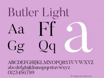 Butler Light 1.000 Font Sample