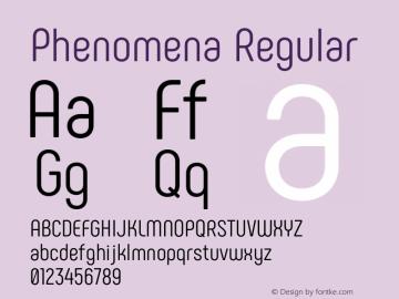 Phenomena Regular Version 1.000;PS 001.000;hotconv 1.0.88;makeotf.lib2.5.64775 Font Sample