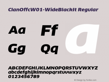 ClanOffcW01-WideBlackIt Regular Version 7.504图片样张