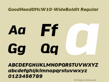 GoodHeadOffcW10-WideBoldIt Regular Version 7.504图片样张