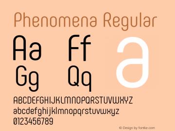 Phenomena Regular Version 1.000;PS 001.000;hotconv 1.0.88;makeotf.lib2.5.64775; ttfautohint (v1.4.1) Font Sample