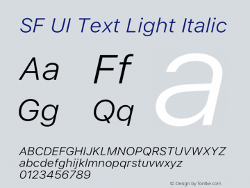 SF UI Text Light Italic 12.0d0e2 Font Sample