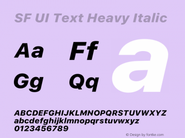 SF UI Text Heavy Italic 12.0d0e2 Font Sample