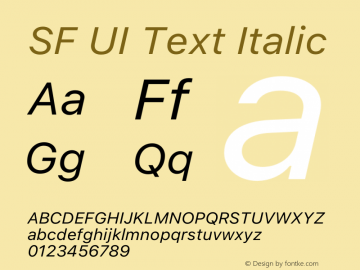 SF UI Text Italic 12.0d0e2 Font Sample